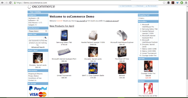 osCommerce screenshot